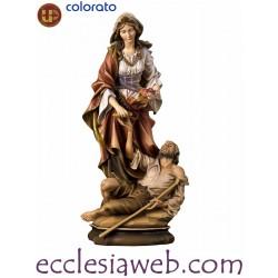 SANTA ELISABETTA CON MENDICANTE - STATUA IN LEGNO